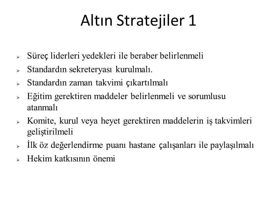 Altın Stratejiler 1  S ü re ç liderleri yedekleri ile beraber belirlenmeli  Standardın sekreteryası kurulmalı.