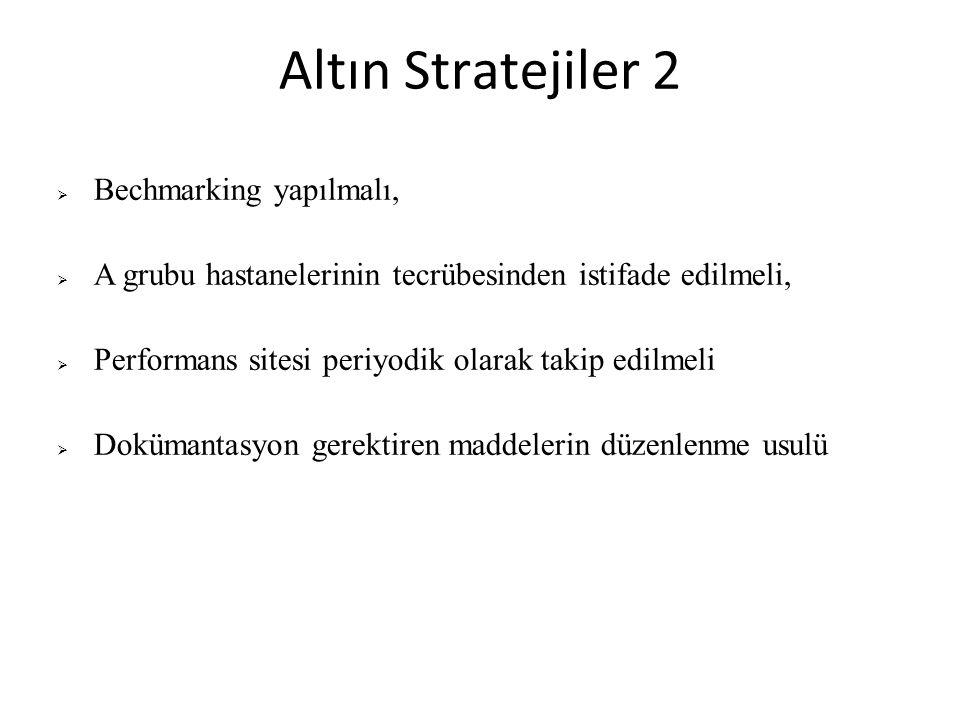 Altın Stratejiler 3  Standart üç e ayrılmalı  Para gerektiren maddeler  Takip gerektiren maddeler  Yeni dok ü mantasyon gerektiren maddeler  Kırılımlar açısından indikatörler  Ö rnek dok ü manlar ve uygulama rehberi dok ü mantasyonda baz alınmalı