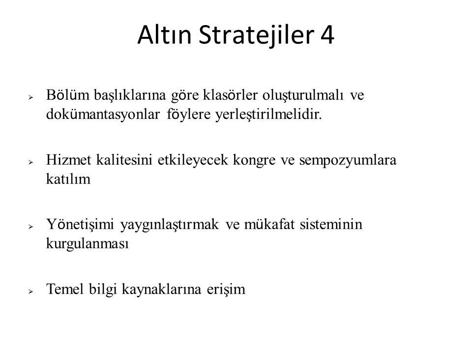 Altın Stratejiler 4  B ö l ü m başlıklarına g ö re klas ö rler oluşturulmalı ve dok ü mantasyonlar f ö ylere yerleştirilmelidir.