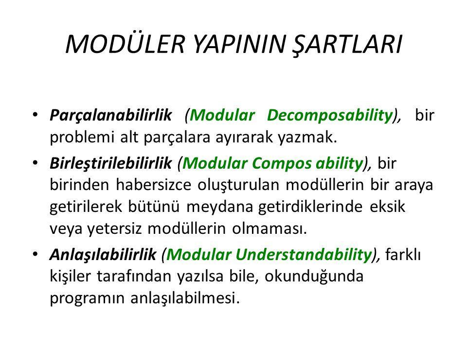 MODÜLER YAPININ ŞARTLARI Parçalanabilirlik (Modular Decomposability), bir problemi alt parçalara ayırarak yazmak. Birleştirilebilirlik (Modular Compos
