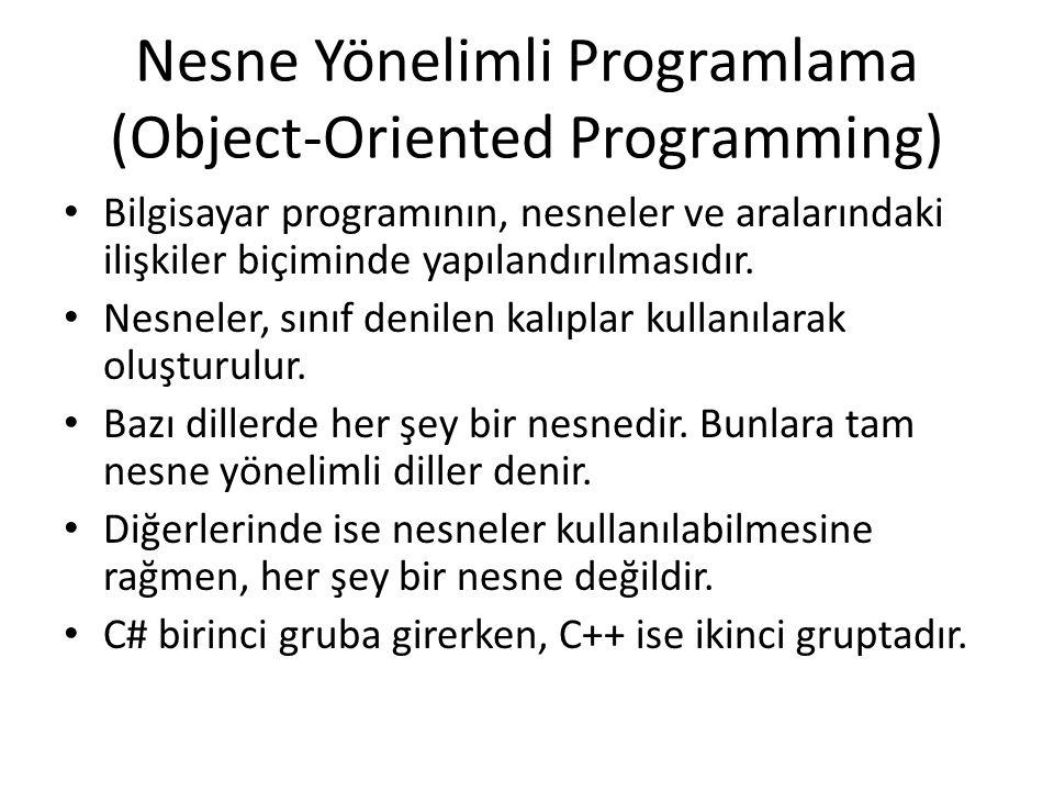Nesne Yönelimli Programlama (Object-Oriented Programming) Bilgisayar programının, nesneler ve aralarındaki ilişkiler biçiminde yapılandırılmasıdır. Ne
