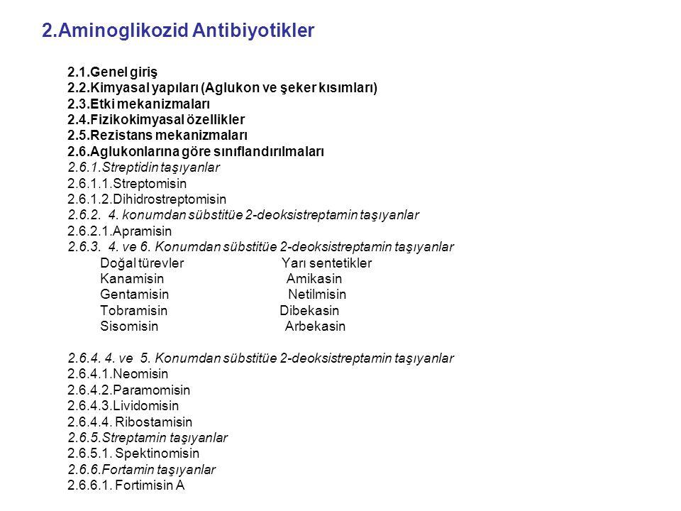 2.Aminoglikozid Antibiyotikler 2.1.Genel giriş 2.2.Kimyasal yapıları (Aglukon ve şeker kısımları) 2.3.Etki mekanizmaları 2.4.Fizikokimyasal özellikler