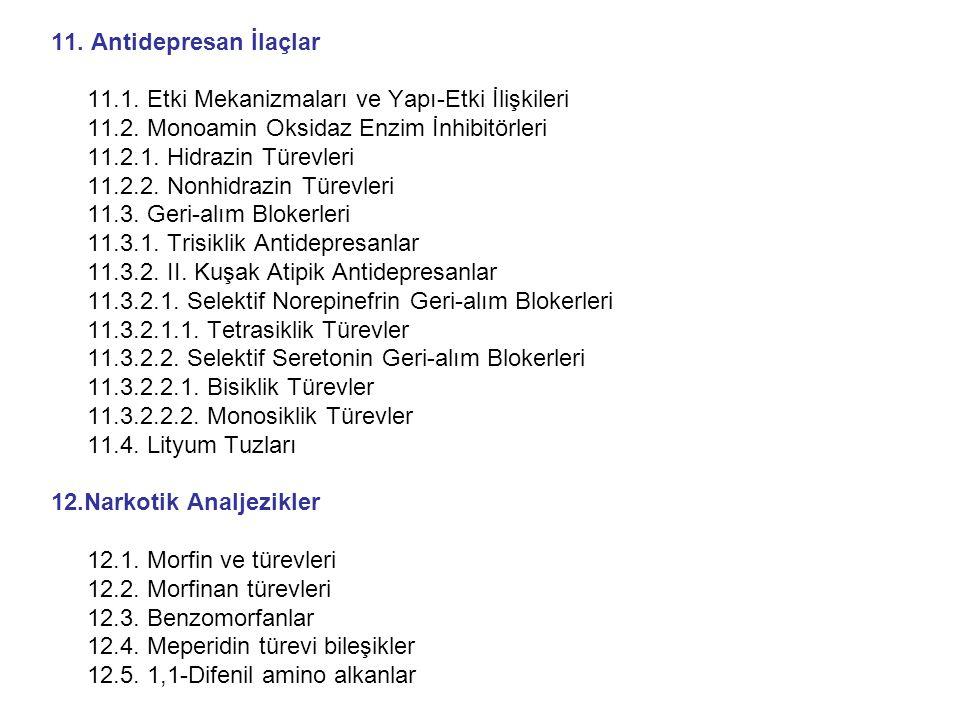 3.2.2.Antiaritmik Bileşikler 3.2.2.1.Sınıf IA (Kinidin, prokainamid, dizopramid) 3.2.2.2.Sınıf IB (Lidokain, fenitoin, tokainid, meksiletin) 3.2.2.3.Sınıf IC (Enkainid, flekainid, Lorkainid, propafenon, indekainid, morisizin) 3.2.2.4.Sınıf II  -Adrenerjik blokörler (propranolol, metoprolol, atenolol, esmolol, timolol, asebutolol) Bu grup bileşikler daha önceverildiği için detay verilmiyor.