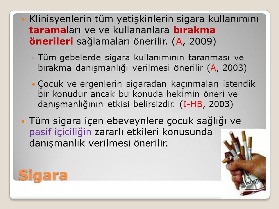 Sigara Klinisyenlerin tüm yetişkinlerin sigara kullanımını taramaları ve ve kullananlara bırakma önerileri sağlamaları önerilir. (A, 2009) ◦Tüm gebele
