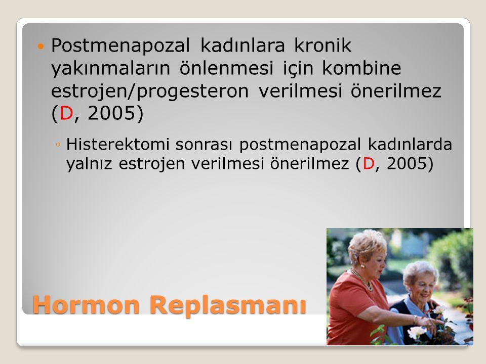 Hormon Replasmanı Postmenapozal kadınlara kronik yakınmaların önlenmesi için kombine estrojen/progesteron verilmesi önerilmez (D, 2005) ◦Histerektomi sonrası postmenapozal kadınlarda yalnız estrojen verilmesi önerilmez (D, 2005)