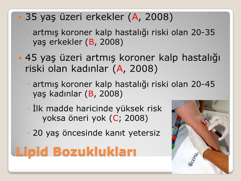 Lipid Bozuklukları 35 yaş üzeri erkekler (A, 2008) ◦artmış koroner kalp hastalığı riski olan 20-35 yaş erkekler (B, 2008) 45 yaş üzeri artmış koroner kalp hastalığı riski olan kadınlar (A, 2008) ◦artmış koroner kalp hastalığı riski olan 20-45 yaş kadınlar (B, 2008) ◦İlk madde haricinde yüksek risk yoksa öneri yok (C; 2008) ◦20 yaş öncesinde kanıt yetersiz