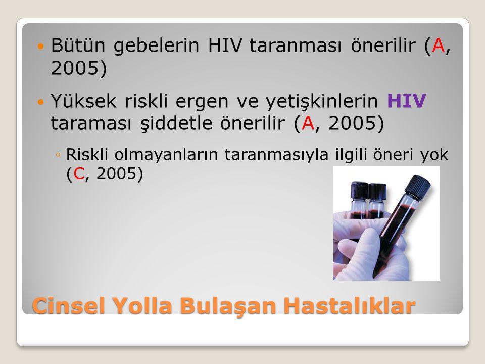 Cinsel Yolla Bulaşan Hastalıklar Bütün gebelerin HIV taranması önerilir (A, 2005) Yüksek riskli ergen ve yetişkinlerin HIV taraması şiddetle önerilir (A, 2005) ◦Riskli olmayanların taranmasıyla ilgili öneri yok (C, 2005)