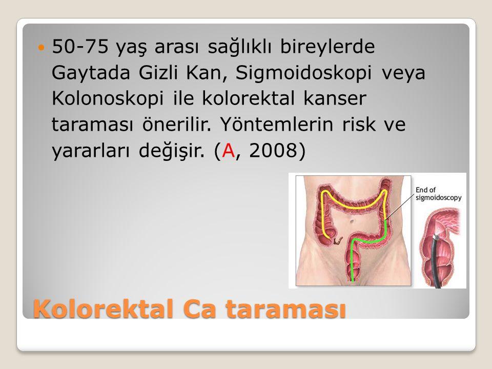 50-75 yaş arası sağlıklı bireylerde Gaytada Gizli Kan, Sigmoidoskopi veya Kolonoskopi ile kolorektal kanser taraması önerilir. Yöntemlerin risk ve yar