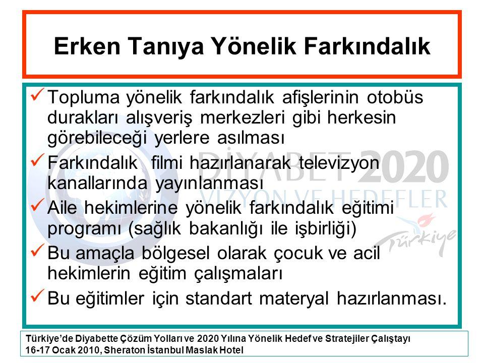 Türkiye'de Diyabette Çözüm Yolları ve 2020 Yılına Yönelik Hedef ve Stratejiler Çalıştayı 16-17 Ocak 2010, Sheraton İstanbul Maslak Hotel Erken Tanıya