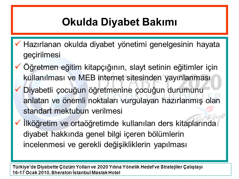 Türkiye'de Diyabette Çözüm Yolları ve 2020 Yılına Yönelik Hedef ve Stratejiler Çalıştayı 16-17 Ocak 2010, Sheraton İstanbul Maslak Hotel Okulda Diyabe