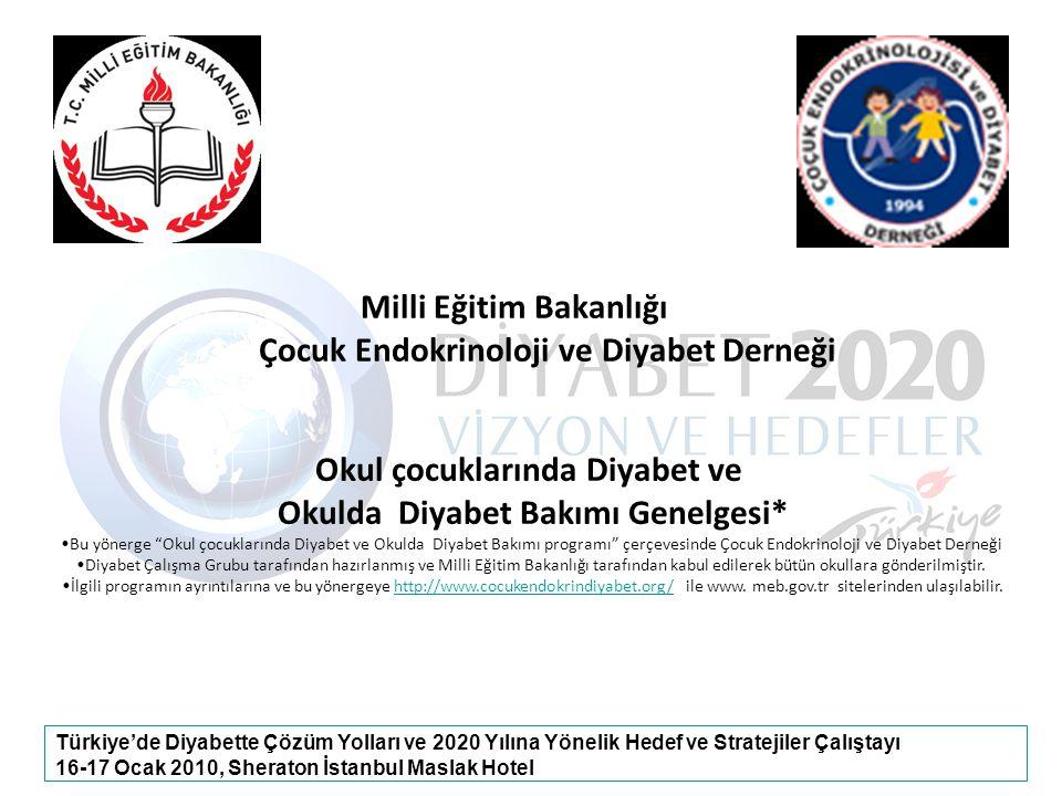 Türkiye'de Diyabette Çözüm Yolları ve 2020 Yılına Yönelik Hedef ve Stratejiler Çalıştayı 16-17 Ocak 2010, Sheraton İstanbul Maslak Hotel Milli Eğitim