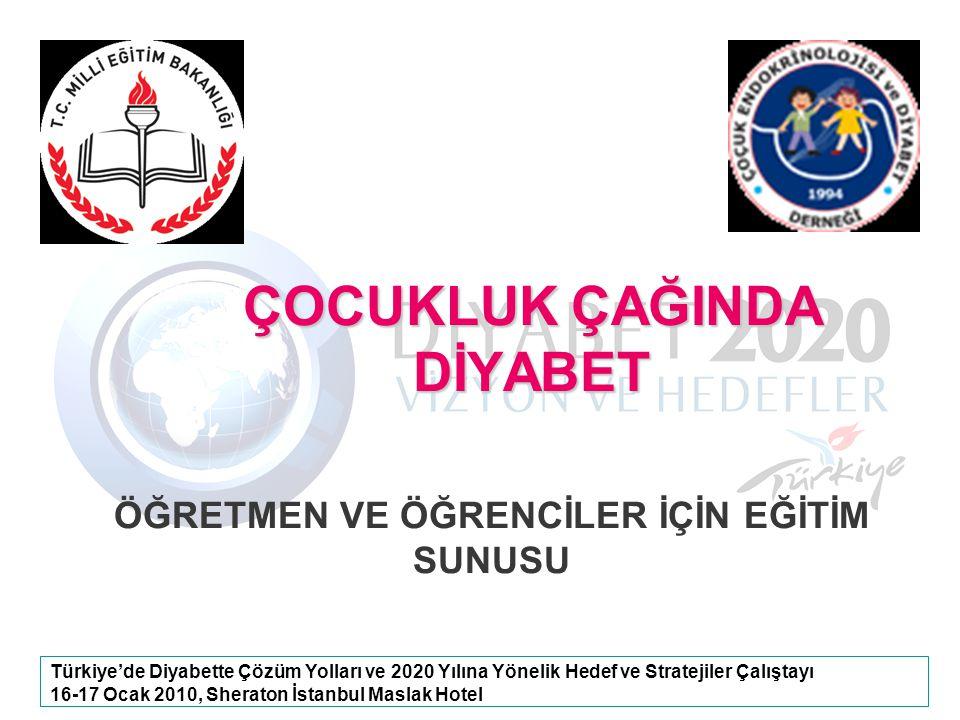 Türkiye'de Diyabette Çözüm Yolları ve 2020 Yılına Yönelik Hedef ve Stratejiler Çalıştayı 16-17 Ocak 2010, Sheraton İstanbul Maslak Hotel ÇOCUKLUK ÇAĞI