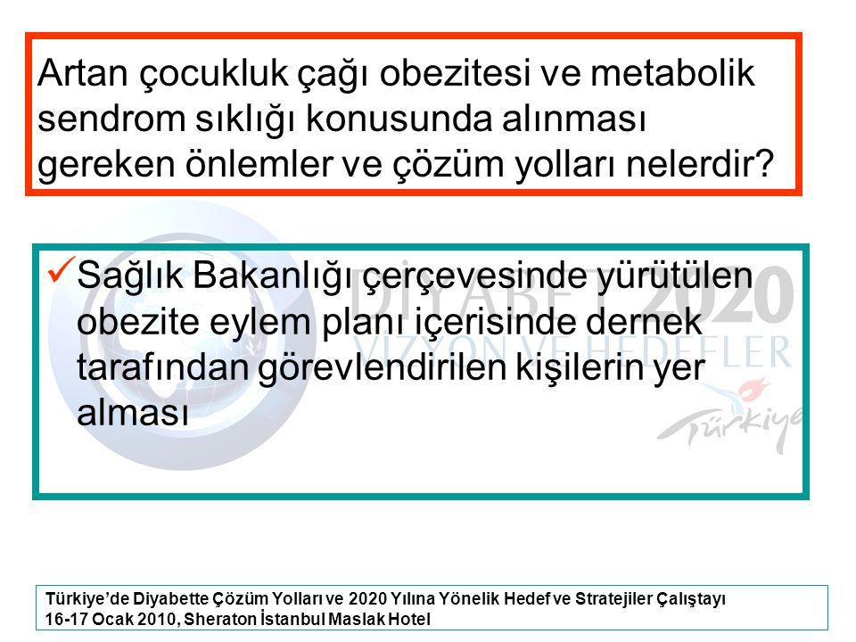Türkiye'de Diyabette Çözüm Yolları ve 2020 Yılına Yönelik Hedef ve Stratejiler Çalıştayı 16-17 Ocak 2010, Sheraton İstanbul Maslak Hotel Artan çocuklu