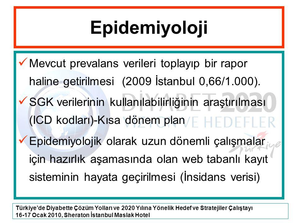 Türkiye'de Diyabette Çözüm Yolları ve 2020 Yılına Yönelik Hedef ve Stratejiler Çalıştayı 16-17 Ocak 2010, Sheraton İstanbul Maslak Hotel Epidemiyoloji