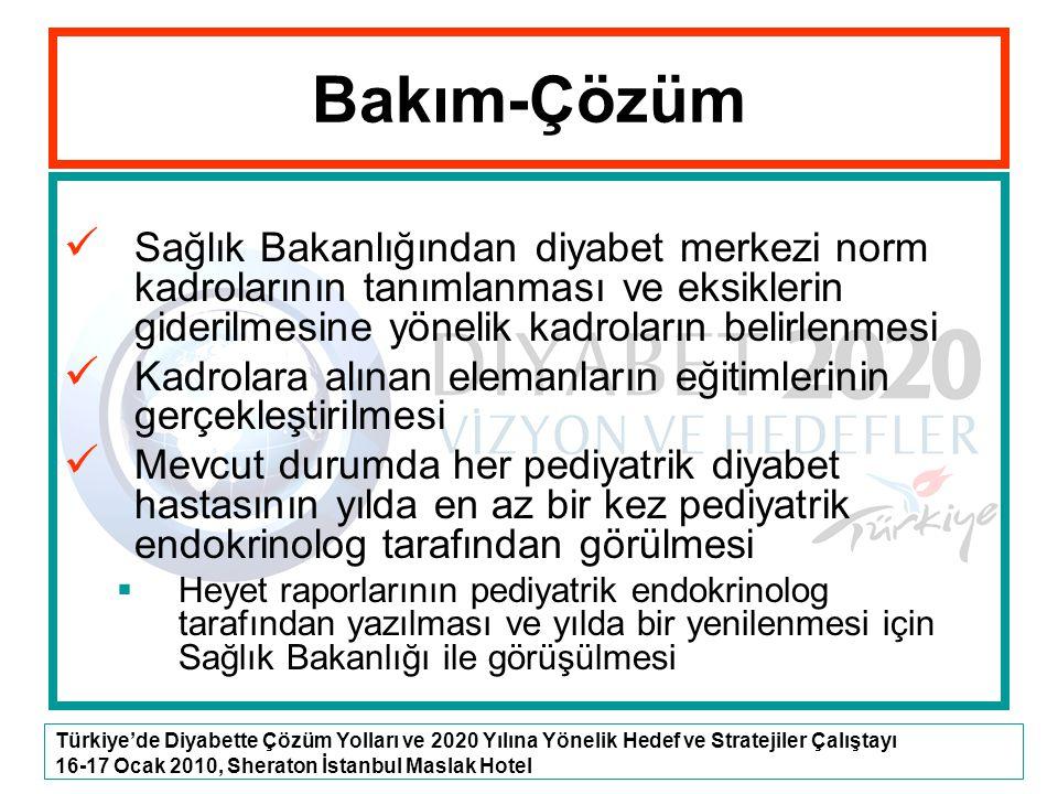 Türkiye'de Diyabette Çözüm Yolları ve 2020 Yılına Yönelik Hedef ve Stratejiler Çalıştayı 16-17 Ocak 2010, Sheraton İstanbul Maslak Hotel Sağlık Bakanl