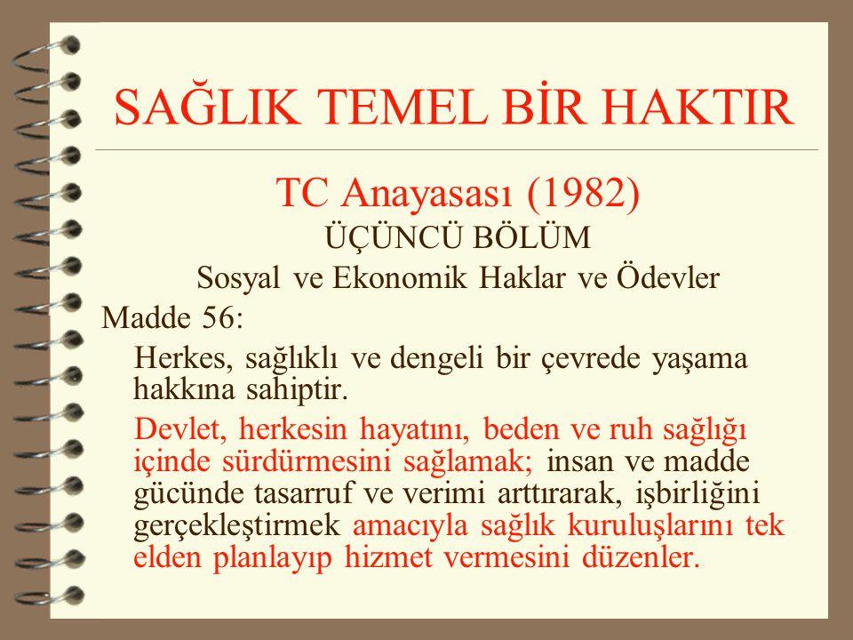 TC Anayasası (1982) ÜÇÜNCÜ BÖLÜM Sosyal ve Ekonomik Haklar ve Ödevler Madde 56: Herkes, sağlıklı ve dengeli bir çevrede yaşama hakkına sahiptir. Devle