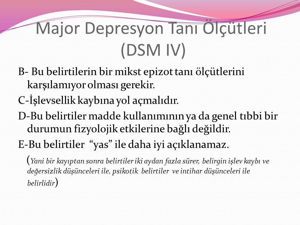 Major Depresyon Tanı Ölçütleri (DSM IV) B- Bu belirtilerin bir mikst epizot tanı ölçütlerini karşılamıyor olması gerekir.