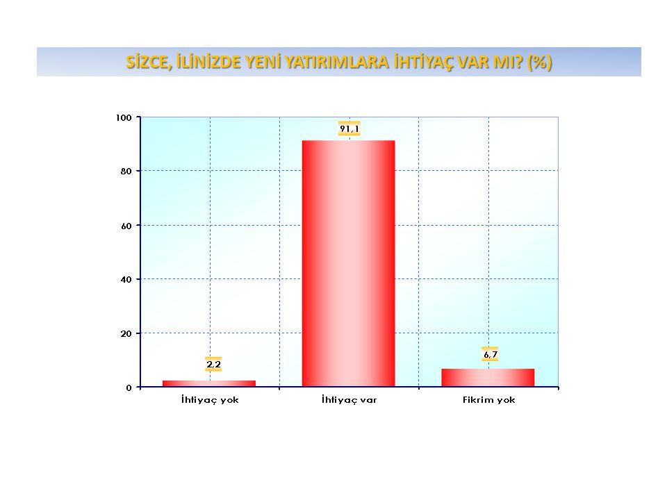 SİZCE, İLİNİZDE YENİ YATIRIMLARA İHTİYAÇ VAR MI? (%)