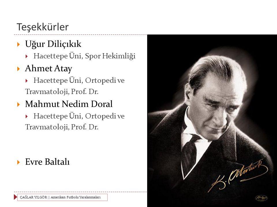 Teşekkürler  Uğur Diliçıkık  Hacettepe Üni, Spor Hekimliği  Ahmet Atay  Hacettepe Üni, Ortopedi ve Travmatoloji, Prof.