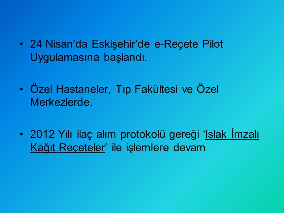 24 Nisan'da Eskişehir'de e-Reçete Pilot Uygulamasına başlandı. Özel Hastaneler, Tıp Fakültesi ve Özel Merkezlerde. 2012 Yılı ilaç alım protokolü gereğ