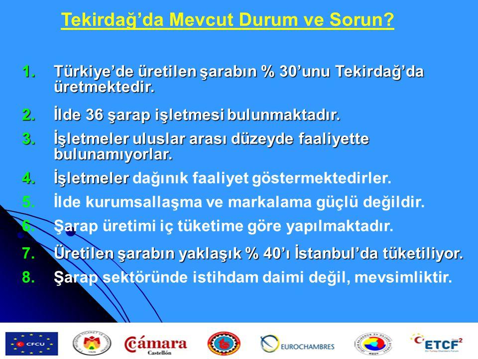 1.Türkiye'de üretilen şarabın % 30'unu Tekirdağ'da üretmektedir. 2.İlde 36 şarap işletmesi bulunmaktadır. 3.İşletmeler uluslar arası düzeyde faaliyett