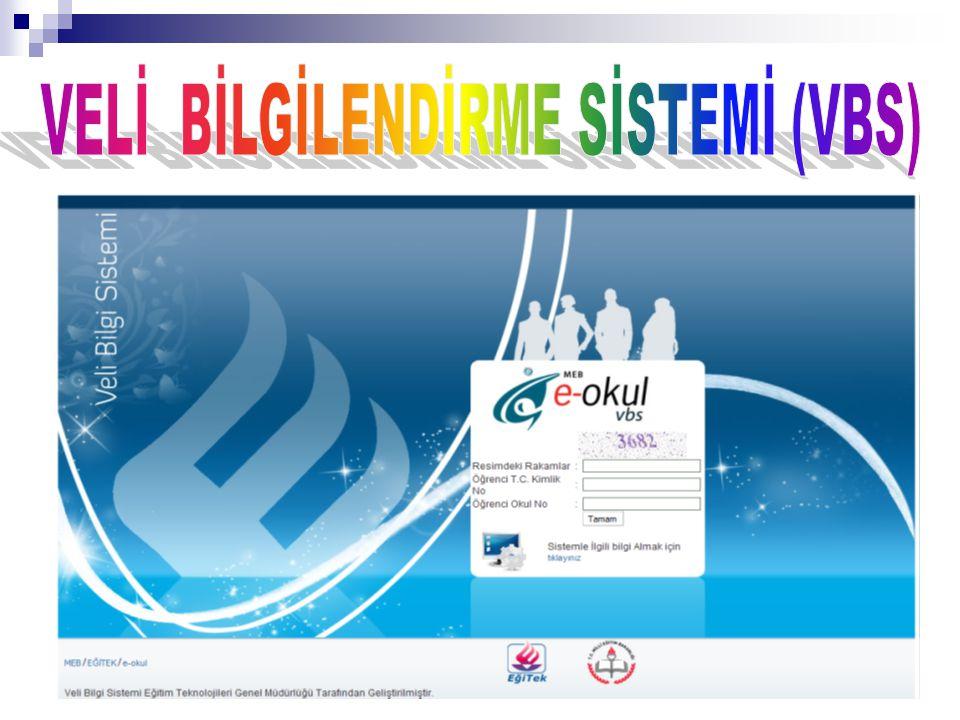 e ‐ Okul sisteminde kayıtlı öğrencilerle ilgili bilgileri velilere açmak için Veli Bilgilendirme Servisi (VBS) kullanılacaktır.