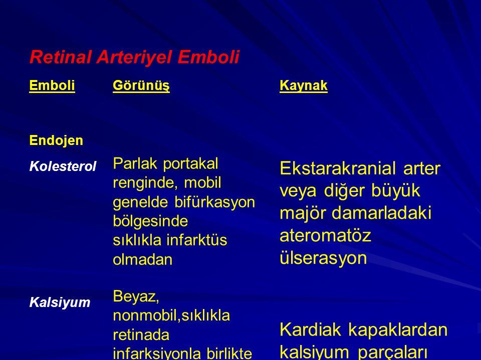 Retinal Arteriyel Emboli EmboliGörünüşKaynak Endojen Kolesterol Parlak portakal renginde, mobil genelde bifürkasyon bölgesinde sıklıkla infarktüs olma