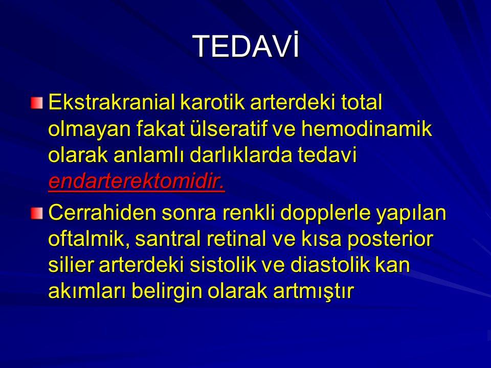 TEDAVİ Ekstrakranial karotik arterdeki total olmayan fakat ülseratif ve hemodinamik olarak anlamlı darlıklarda tedavi endarterektomidir. Cerrahiden so