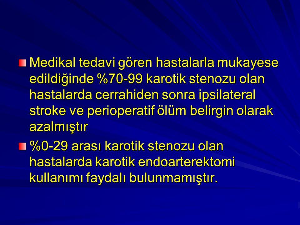 Medikal tedavi gören hastalarla mukayese edildiğinde %70-99 karotik stenozu olan hastalarda cerrahiden sonra ipsilateral stroke ve perioperatif ölüm b