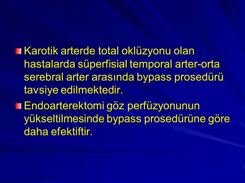 Karotik arterde total oklüzyonu olan hastalarda süperfisial temporal arter-orta serebral arter arasında bypass prosedürü tavsiye edilmektedir. Endoart