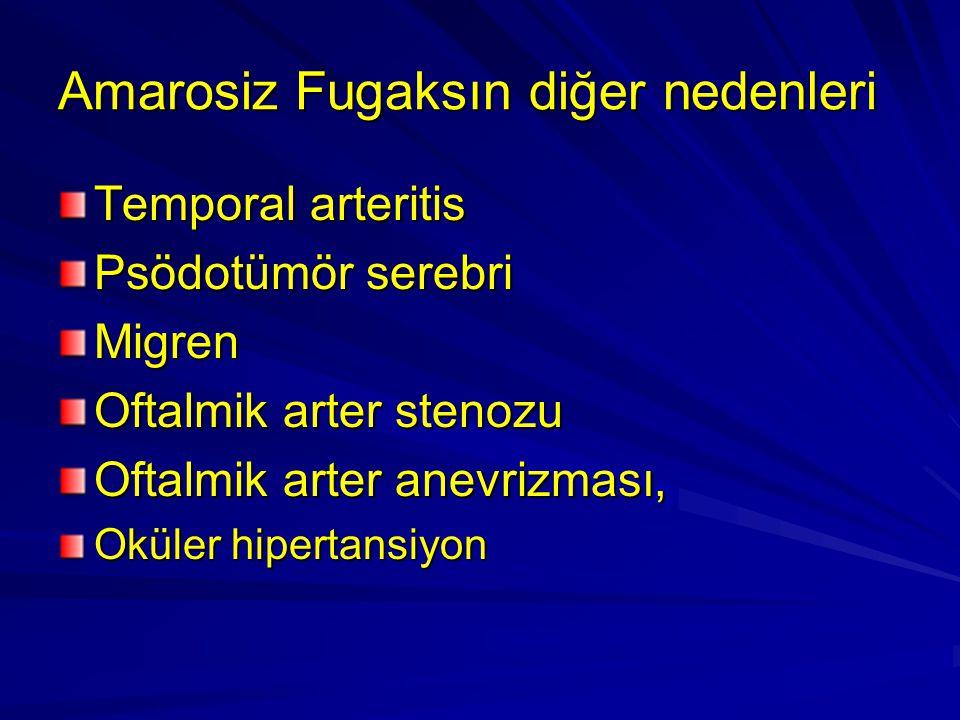 Amarosiz Fugaksın diğer nedenleri Temporal arteritis Psödotümör serebri Migren Oftalmik arter stenozu Oftalmik arter anevrizması, Oküler hipertansiyon