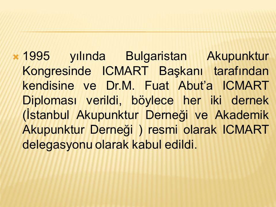  1995 yılında Bulgaristan Akupunktur Kongresinde ICMART Başkanı tarafından kendisine ve Dr.M.