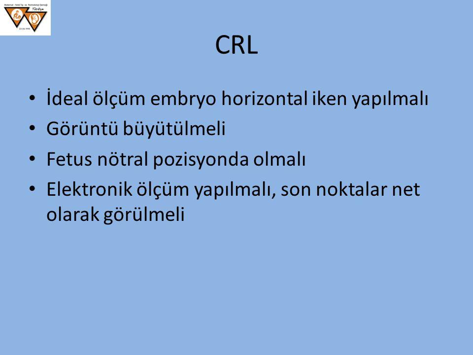 CRL İdeal ölçüm embryo horizontal iken yapılmalı Görüntü büyütülmeli Fetus nötral pozisyonda olmalı Elektronik ölçüm yapılmalı, son noktalar net olara