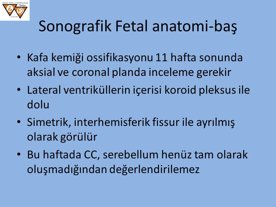 Sonografik Fetal anatomi-baş Kafa kemiği ossifikasyonu 11 hafta sonunda aksial ve coronal planda inceleme gerekir Lateral ventriküllerin içerisi koroi