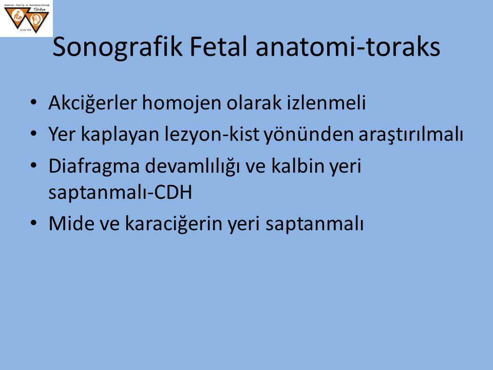Sonografik Fetal anatomi-toraks Akciğerler homojen olarak izlenmeli Yer kaplayan lezyon-kist yönünden araştırılmalı Diafragma devamlılığı ve kalbin ye