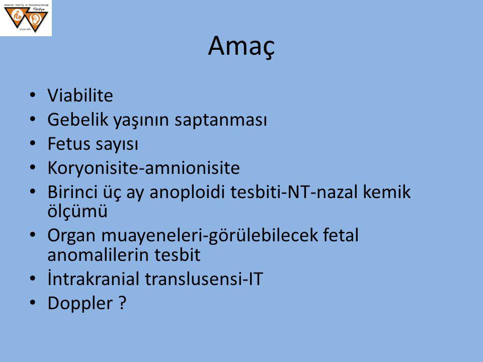 Amaç Viabilite Gebelik yaşının saptanması Fetus sayısı Koryonisite-amnionisite Birinci üç ay anoploidi tesbiti-NT-nazal kemik ölçümü Organ muayeneleri
