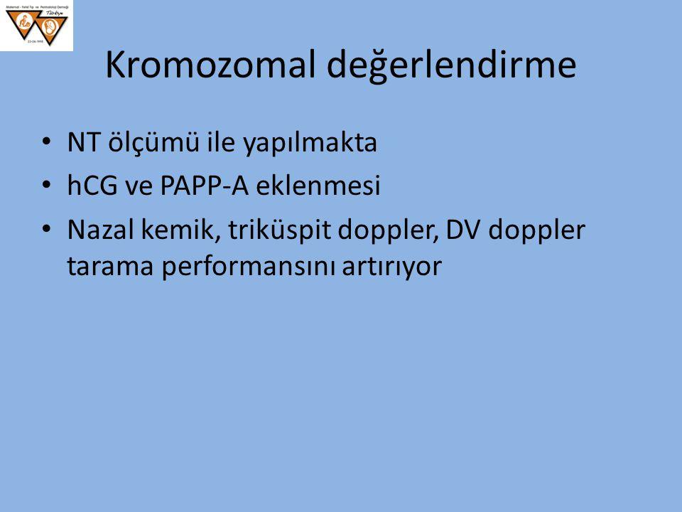 Kromozomal değerlendirme NT ölçümü ile yapılmakta hCG ve PAPP-A eklenmesi Nazal kemik, triküspit doppler, DV doppler tarama performansını artırıyor