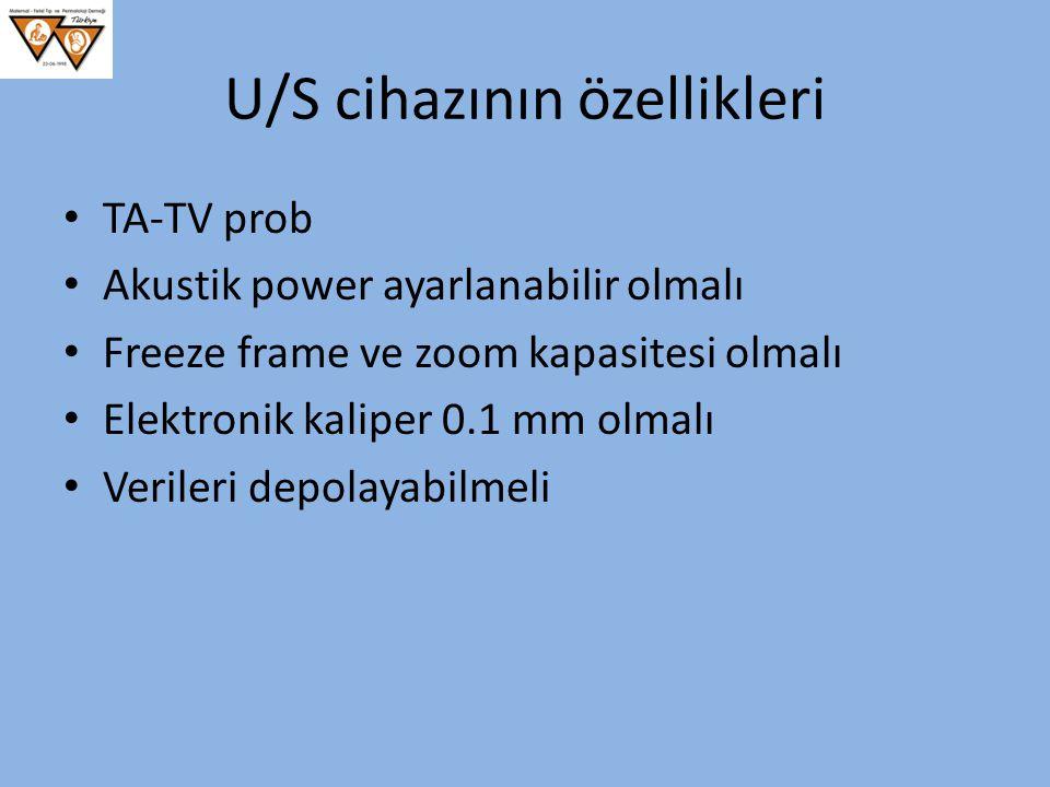 U/S cihazının özellikleri TA-TV prob Akustik power ayarlanabilir olmalı Freeze frame ve zoom kapasitesi olmalı Elektronik kaliper 0.1 mm olmalı Verile