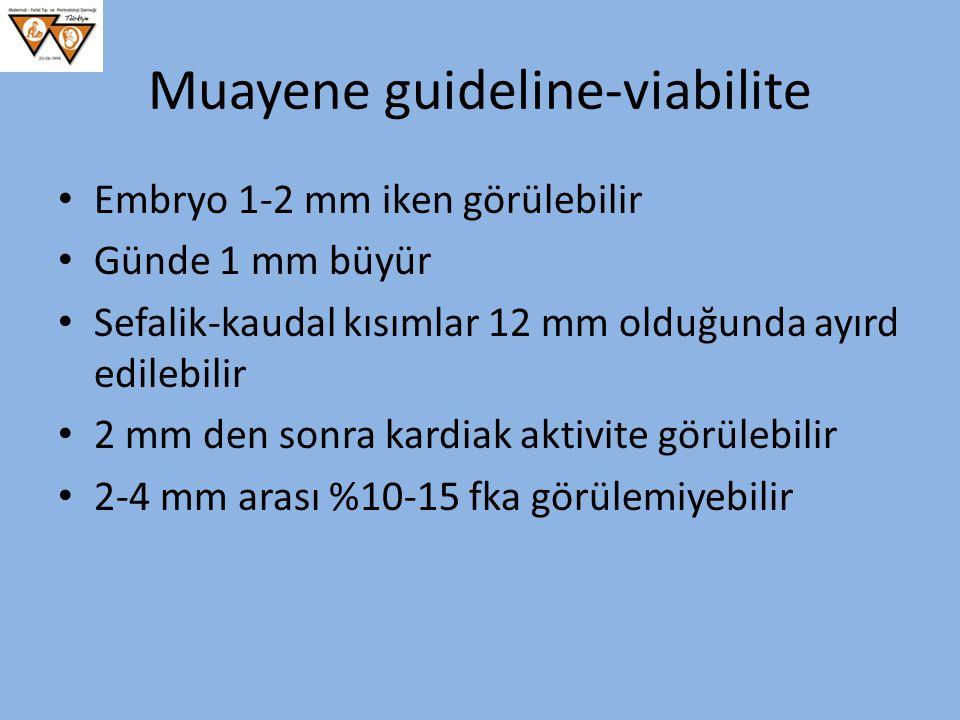 Muayene guideline-viabilite Embryo 1-2 mm iken görülebilir Günde 1 mm büyür Sefalik-kaudal kısımlar 12 mm olduğunda ayırd edilebilir 2 mm den sonra ka