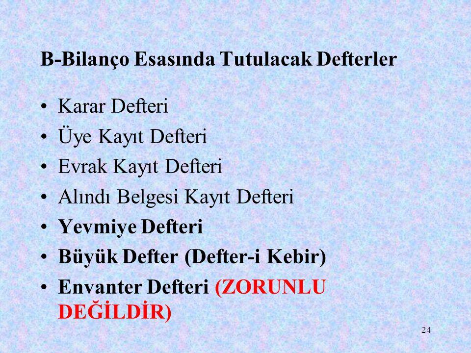 24 B-Bilanço Esasında Tutulacak Defterler Karar Defteri Üye Kayıt Defteri Evrak Kayıt Defteri Alındı Belgesi Kayıt Defteri Yevmiye Defteri Büyük Defter (Defter-i Kebir) Envanter Defteri (ZORUNLU DEĞİLDİR)