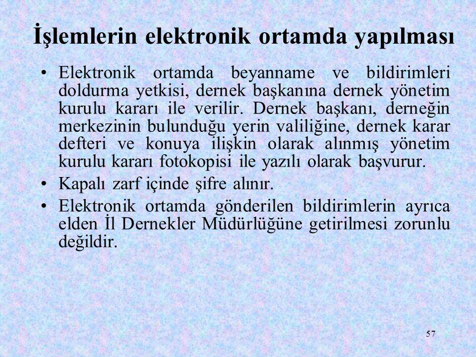 57 İşlemlerin elektronik ortamda yapılması Elektronik ortamda beyanname ve bildirimleri doldurma yetkisi, dernek başkanına dernek yönetim kurulu kararı ile verilir.
