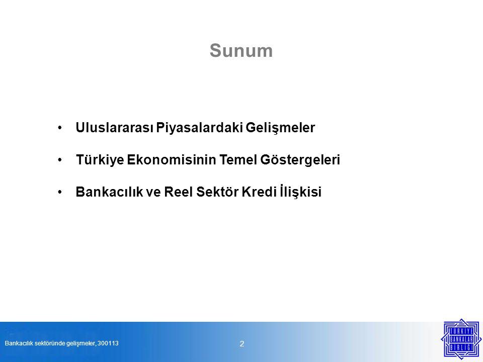 Sunum Uluslararası Piyasalardaki Gelişmeler Türkiye Ekonomisinin Temel Göstergeleri Bankacılık ve Reel Sektör Kredi İlişkisi 2 Bankacılık sektöründe g