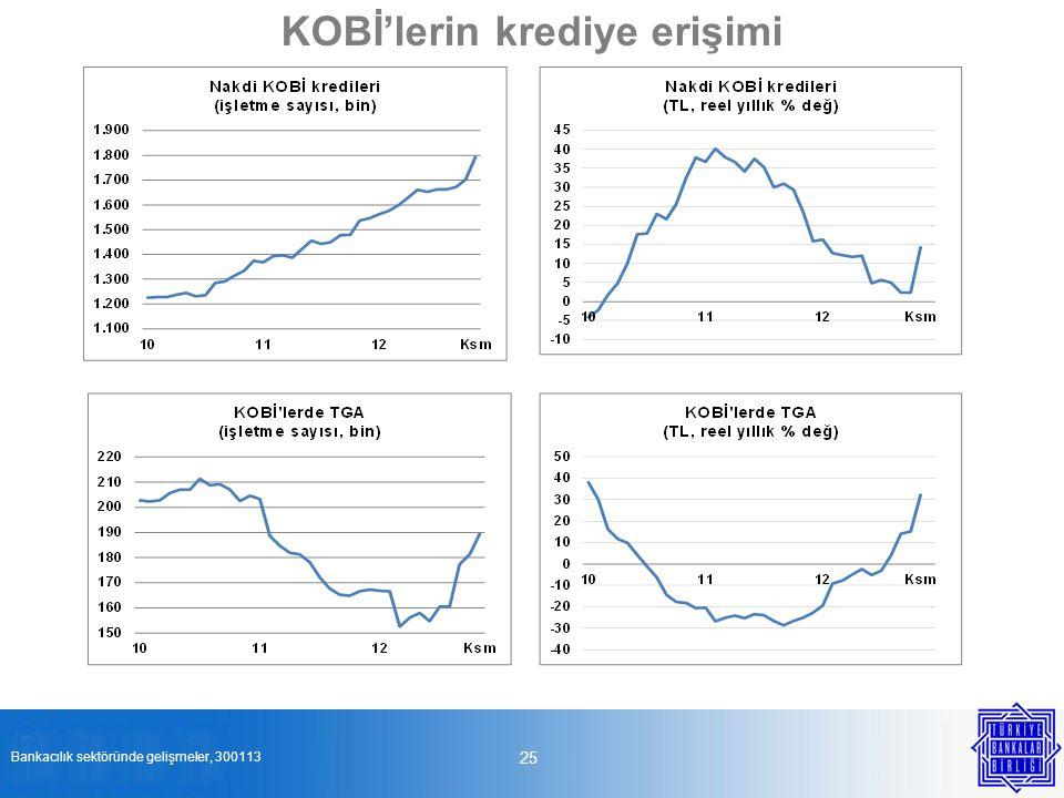 25 KOBİ'lerin krediye erişimi Bankacılık sektöründe gelişmeler, 300113