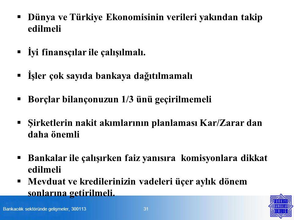 31  Dünya ve Türkiye Ekonomisinin verileri yakından takip edilmeli  İyi finansçılar ile çalışılmalı.  İşler çok sayıda bankaya dağıtılmamalı  Borç