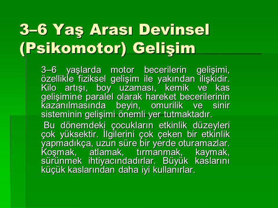 3–6 Yaş Arası Devinsel (Psikomotor) Gelişim 3–6 yaşlarda motor becerilerin gelişimi, özellikle fiziksel gelişim ile yakından ilişkidir. Kilo artışı, b