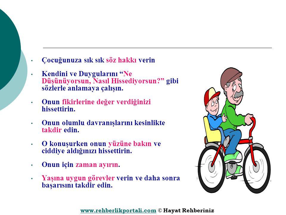 """www.rehberlikportali.comwww.rehberlikportali.com © Hayat Rehberiniz Çocuğunuza sık sık söz hakkı verin Kendini ve Duygularını """"Ne Düşünüyorsun, Nasıl"""