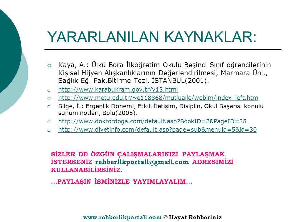 www.rehberlikportali.comwww.rehberlikportali.com © Hayat Rehberiniz YARARLANILAN KAYNAKLAR:  Kaya, A.: Ülkü Bora İlköğretim Okulu Beşinci Sınıf öğren