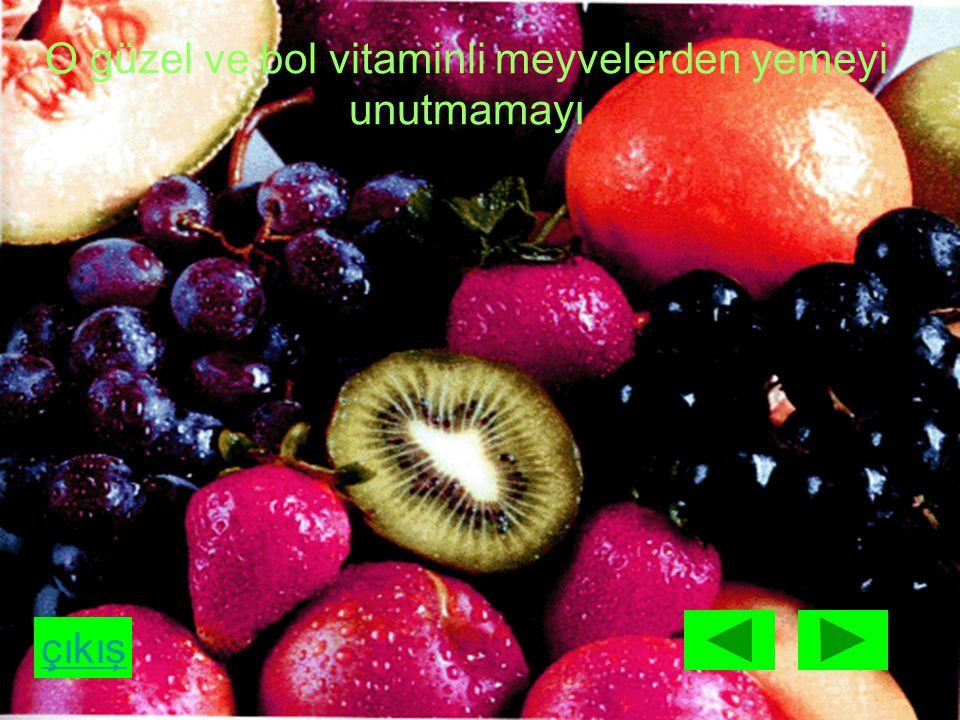 çıkış O güzel ve bol vitaminli meyvelerden yemeyi unutmamayı