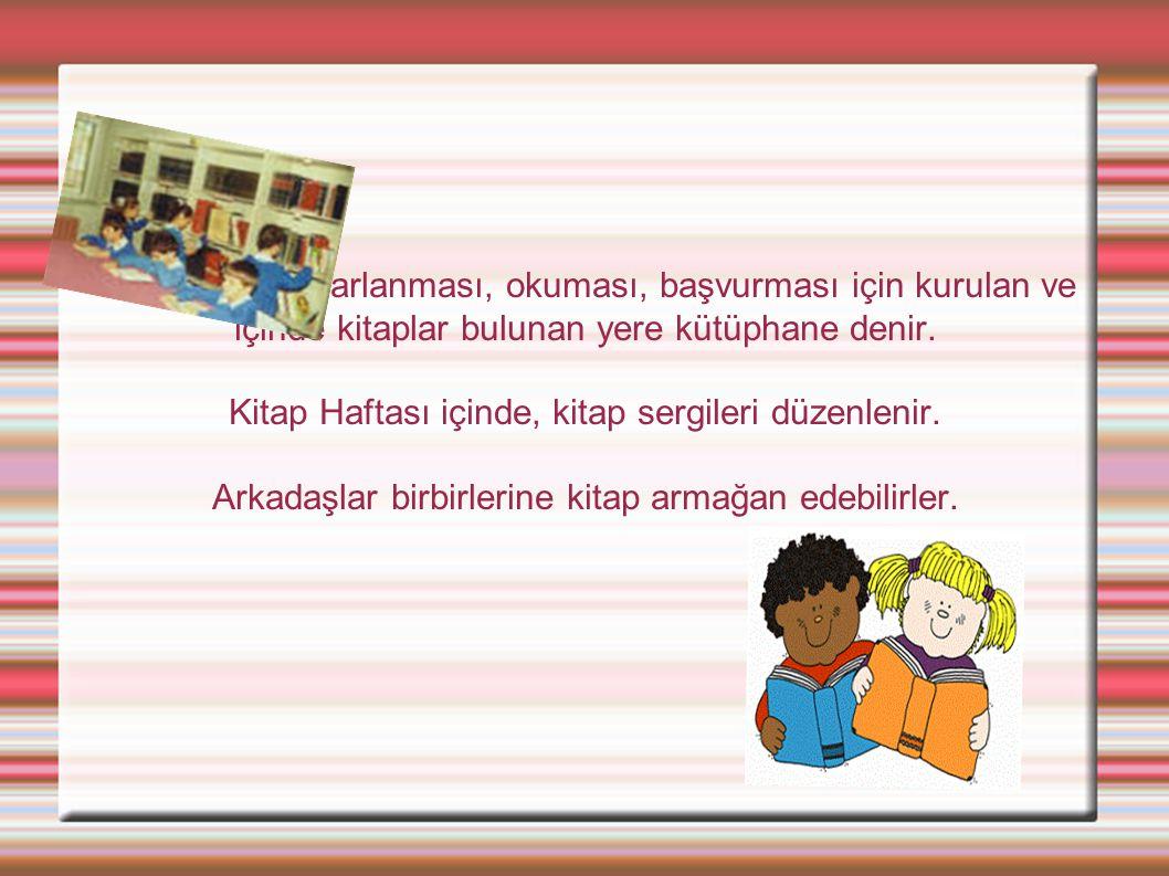 Herkesin yararlanması, okuması, başvurması için kurulan ve içinde kitaplar bulunan yere kütüphane denir.