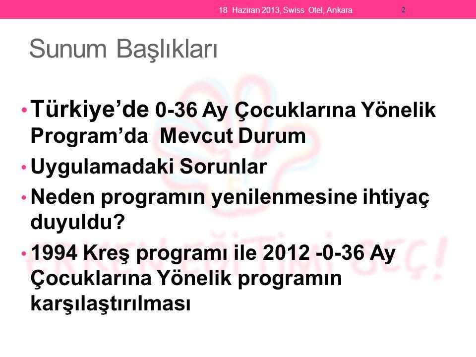 Sunum Başlıkları Türkiye'de 0-36 Ay Çocuklarına Yönelik Program'da Mevcut Durum Uygulamadaki Sorunlar Neden programın yenilenmesine ihtiyaç duyuldu.